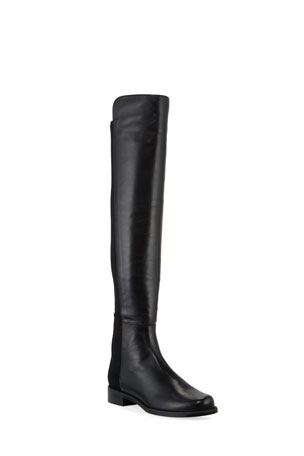 Stuart Weitzman 50/50 Leather/Gabardine Over-the-Knee Boots