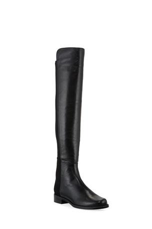 Stuart Weitzman 50/50 Leather/Gabardine Over-the-Knee Boots