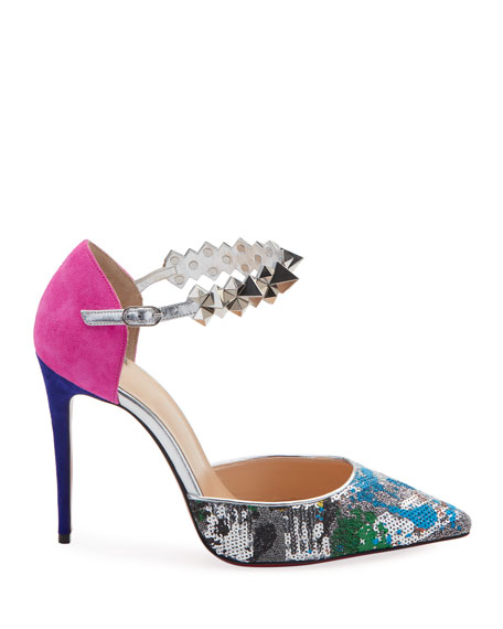 Image 3 of 5: Planet Chic Embellished Red Sole Pumps