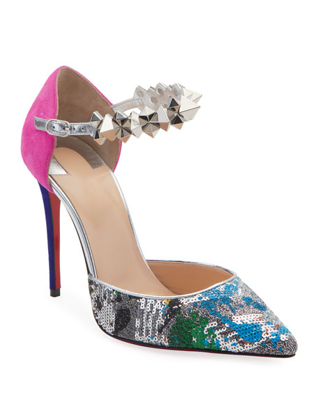 Image 1 of 5: Planet Chic Embellished Red Sole Pumps