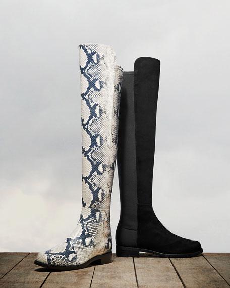 Stuart Weitzman 5050 Python-Printed Leather Boots