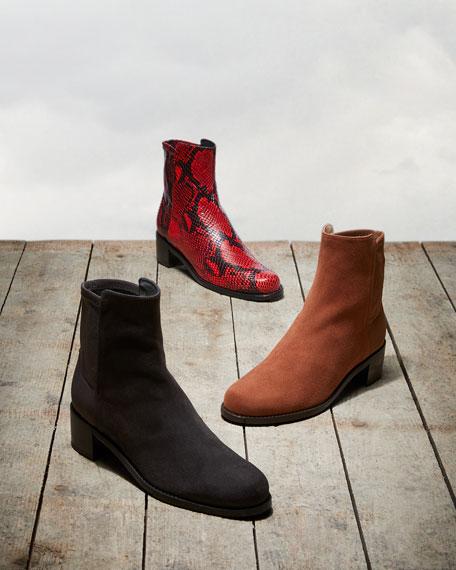 Stuart Weitzman Easyon Reserve Python-Print Leather Booties