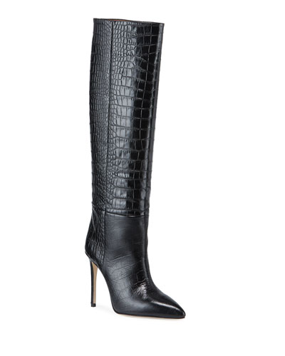 Croc-Embossed Leather Stiletto Boots