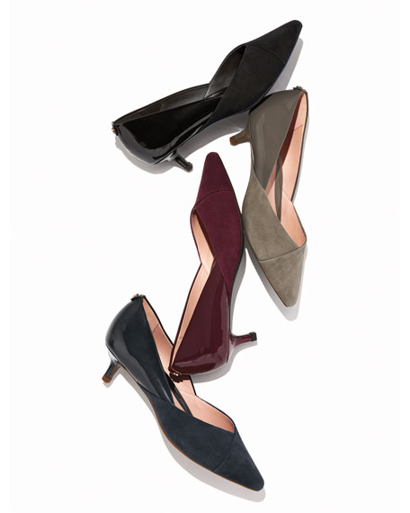 Taryn Rose Natania Weatherproof Suede and Patent Pumps
