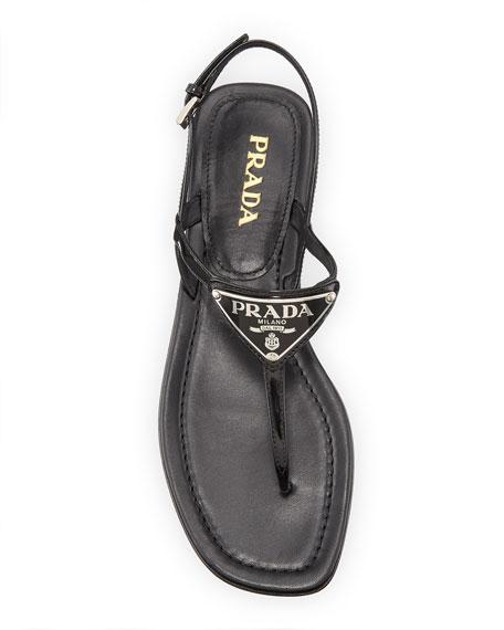Prada Patent Leather Logo Sandals