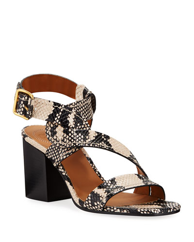Candice Snake-Print Twisted Ankle-Wrap Sandals