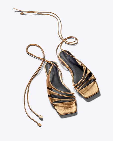 Image 5 of 5: Sigerson Morrison Faune Leather Ankle-Wrap Flat Sandals
