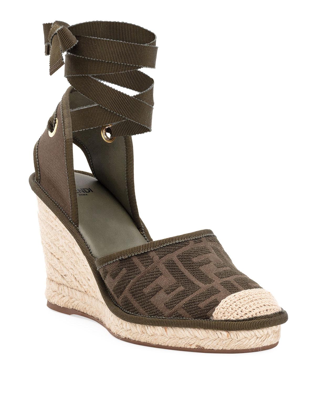 Fendi FF Logo Ankle-Wrap Wedge