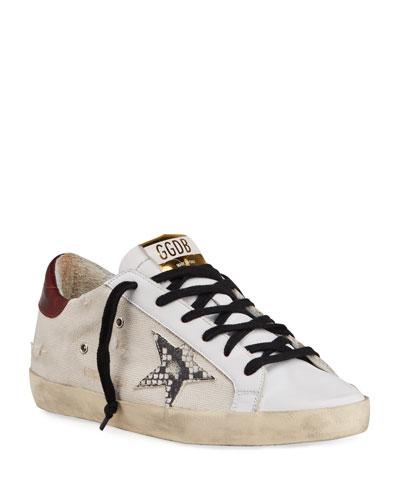 Superstar Canvas/Snake-Print Sneakers