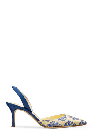 Manolo Blahnik Carolyne Embroidered Slingback Kitten-Heel Pumps