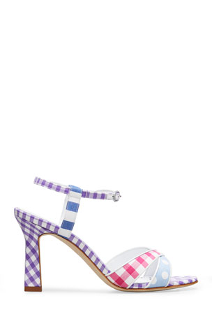 Manolo Blahnik Fluida Mixed Pattern Ankle-Strap Sandals