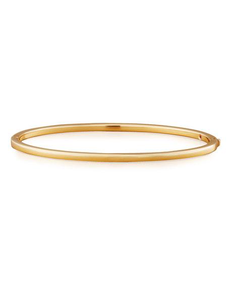 18k Gold Thin Oval Bangle