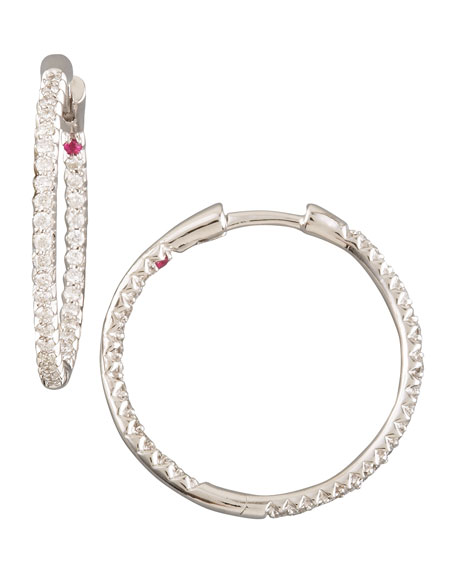 Roberto Coin Diamond Hoop Earrings, 2.55 mm