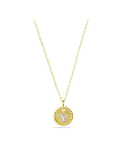 "David Yurman ""Y"" Pendant with Diamonds in Gold on Chain"