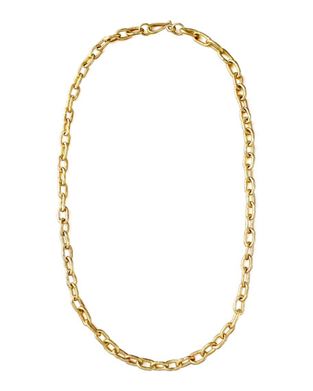 "Hammered Bronze Chain Necklace, 36""L"