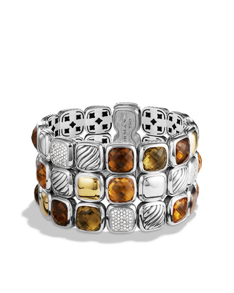Chiclet Three-Row Bracelet with Citrine, Diamonds, and Gold