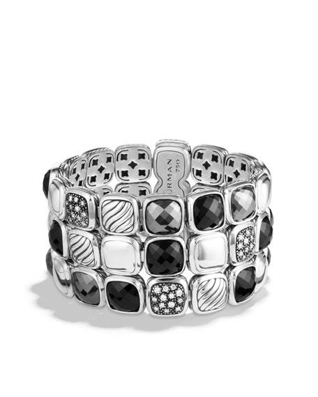 Chiclet Three-Row Bracelet with Black Onyx, Hematine, and Diamonds