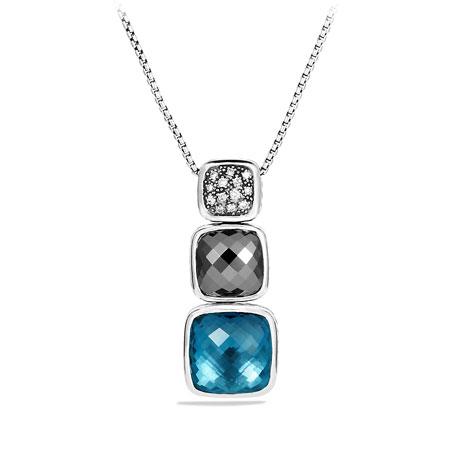 "Chiclet Necklace, London Blue Topaz, 18""L, Large"