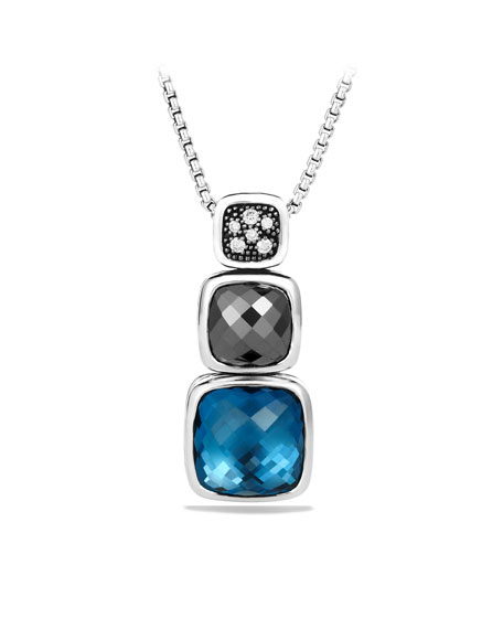 Chiclet Small Triple-Drop Pendant with Hampton Blue Topaz, Hematine, and Diamonds on Chain