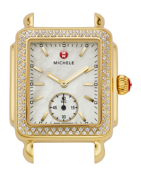 MICHELE Gold Deco Diamond Watch Head & 16mm