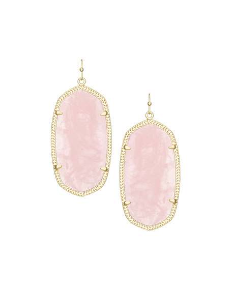 Danielle Earrings, Rose Quartz