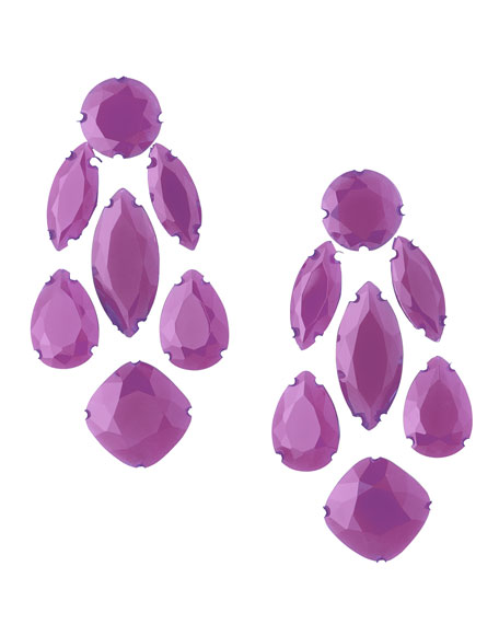 statement crystal earrings, african violet