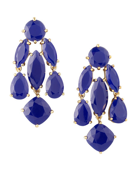 statement crystal earrings, royal blue