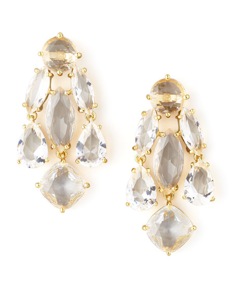 statement crystal earrings, clear