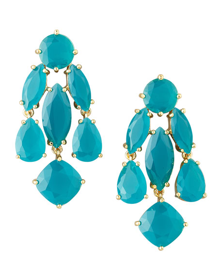 statement crystal earrings, turquoise