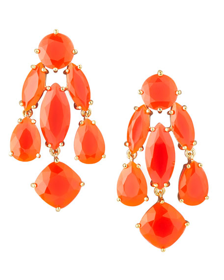statement crystal earrings, coral