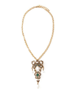 Oscar de la Renta Baroque Brooch-Pendant Necklace