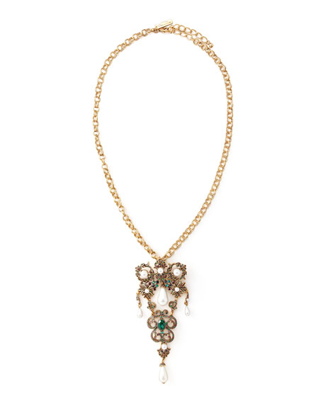 Oscar de la Renta Baroque Brooch-Pendant Necklace