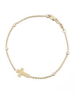 Roberto Coin Integrated Cross Diamond Bracelet, Yellow Gold