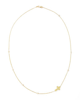 Roberto Coin Integrated Diamond Cross Necklace, Yellow Gold