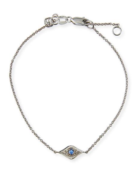 Sydney Evan Mini Diamond Evil Eye Bracelet, White
