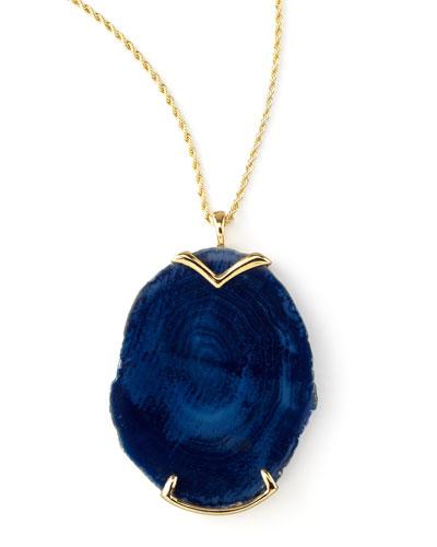 Blue Agate Pendant Necklace