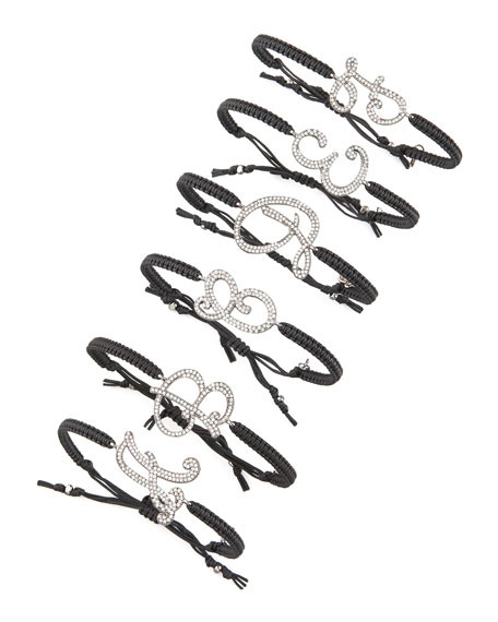 Pave Initial Bracelet, Black
