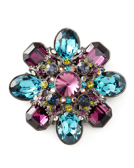 Crystal Gunmetal Brooch