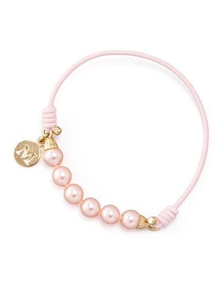 Elastic Pearl Bracelet, Pink/Gold