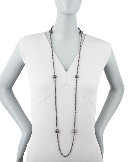 "Superstud Ball-Station Necklace, 48""L"