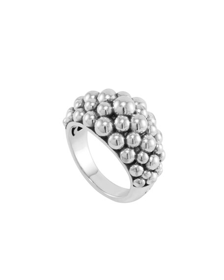 Medium Sterling Silver Bold Caviar Ring