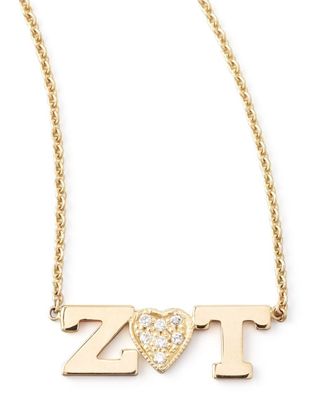 Zoë Chicco Personalized Two-Letter Diamond-Heart Necklace Lui50