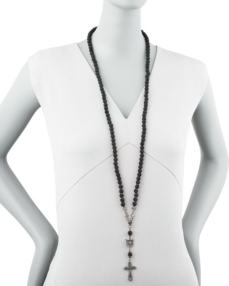 Long Rosary Necklace, Black