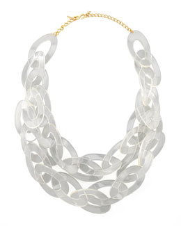 Kenneth Jay Lane Clear Lucite Link Necklace