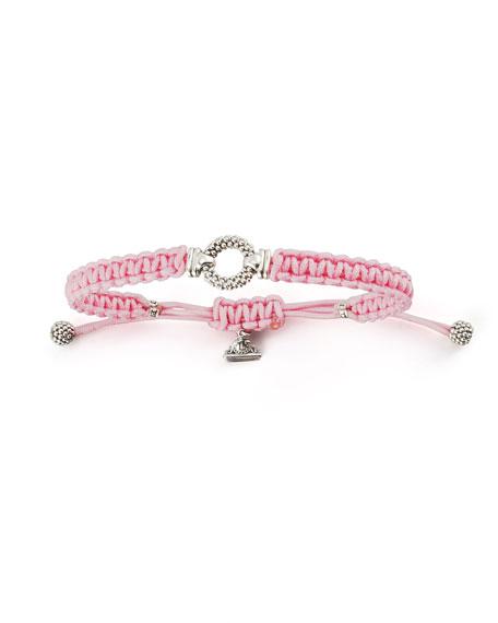 Sterling Silver Caviar Macrame Bracelet, Pink