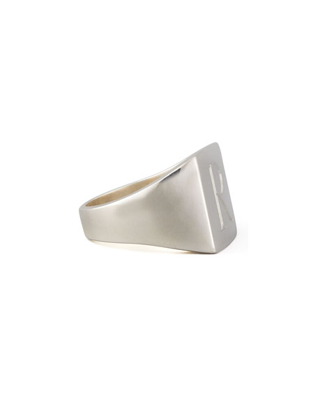 Sarah Chloe Letter-Engraved Square Signet  Ring, Silver