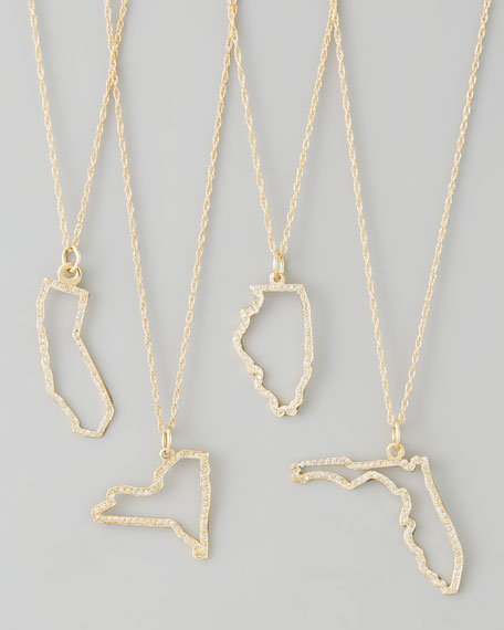 Pave Diamond State Necklace