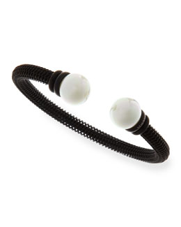 Majorica Pearl-Capped Stainless Steel Bangle, Black