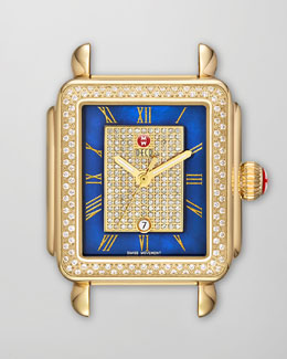 MICHELE Deco Diamond Watch Head, Blue/Gold