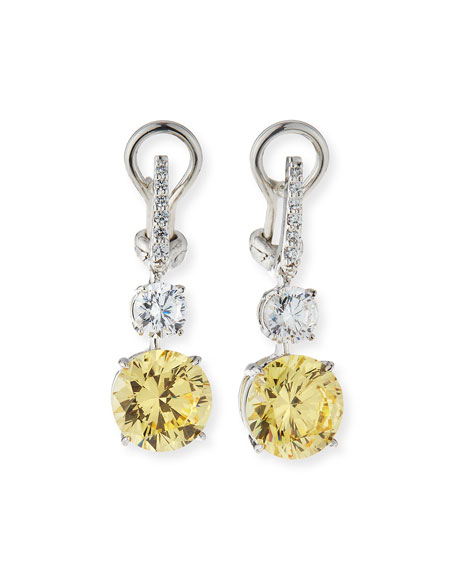 Fantasia by DeSerio Canary/Clear Cubic Zirconia Drop Earrings